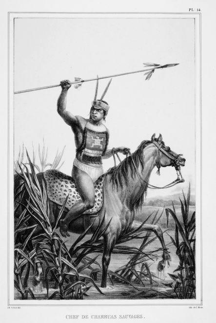 (Chefe dos índios charrua) Chef de charruas sauvages. Debret, Jean Baptiste, 1768-1848. Litografia de Motte, Charles Etienne Pierre, 1785-1836. Paris : Firmin Didot Frères.