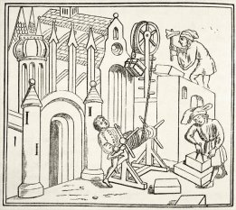 Builders at work in the 15th century, from 'The National and Domestic History of England' by William Hickman Smith Aubrey.