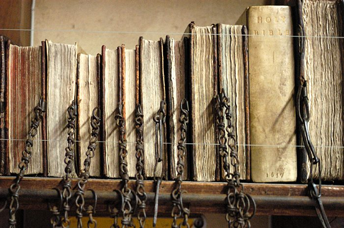 Chained Library -  Hereford Cathedral. http://www.herefordcathedral.org/education-research/library-and-archives/history-of-the-chained-library