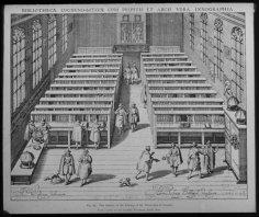 WILLEM VAN SWANENBURGH. Leiden c. 1581/1582 – 1612 Leiden. After J.C. Woudanus. The interior of the University Library in Leiden. BIBLIOTHECAE LUGDUNO-BATAVAE CUM PULPITIS ET ARCIS IXNOGRAPHIA. Engraving, 1610. http://www.masterprints.nl/prints/11/si_10.html