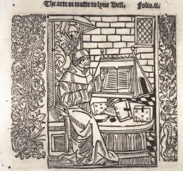 Illustration of a scholar from The arte or crafte to lyve well and to dye well, printed 1505, the South Quire Aisle – Windsor College http://www.stgeorges-windsor.org/archives/blog/?tag=south-quire-aisle