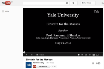"Vídeo do curso ""Einstein for the masses"", de Yale, disponível no YouTube"