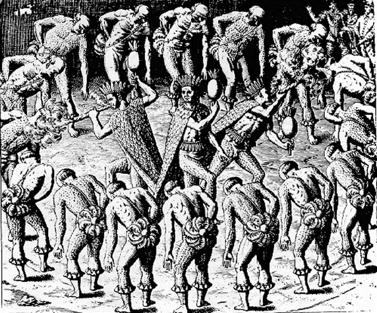 Gravura em cobre de Theodor de Bry. Dança ritual dos Tupinambá.